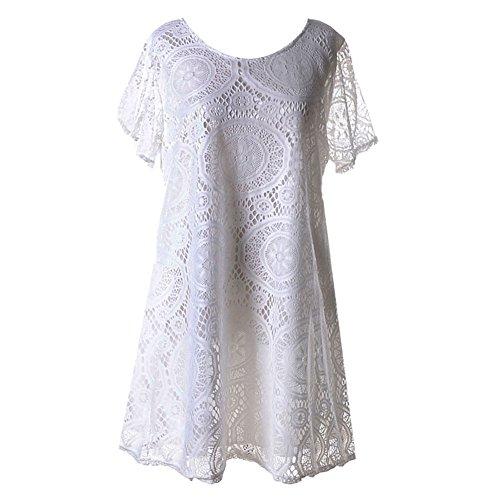 Broadroot colore solido o collo full-skirted Hollow, maniche corte Lace Dress (bianco) (XXL)
