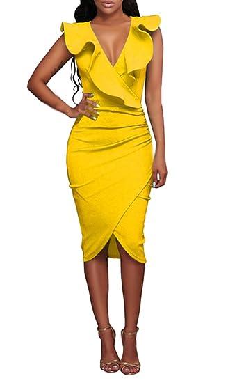 Mujer Vestido De Cóctel hasta La Rodilla Sin Mangas V Cuello con Volantes Vestido Mujer Fiesta Fashion Fiesta Irregular Slim Fit Paquete De Cadera Vestidos ...