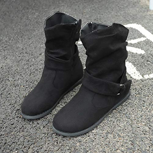 Shoes Winter Booties Zipper Boot Black Straps Calf Side Short Boots Mid Buckle Ankle Flat Womens Slouchy 6d7Rqw6