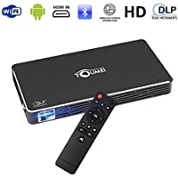 Monopril C800S Portable Pico Video Projector Mini Pocket Size Android Smart OS, Full HD 1080P Support Flash/USB/HDMI/WIFI/Bluetooth/Remote Control for Home Cinema, Office, Games, Outdoor