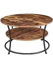 VASAGLE stolik kawowy okrągły, stolik do salonu, stolik do sofy z półką, łatwy montaż, metal, wzornictwo przemysłowe, vintage brązowo-czarny LCT80BX