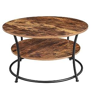 VASAGLE Table Basse, Table de Salon, Buffet Bas, 2 Niveaux, avec Étagère de Rangement, Montage Facile, Structure en…
