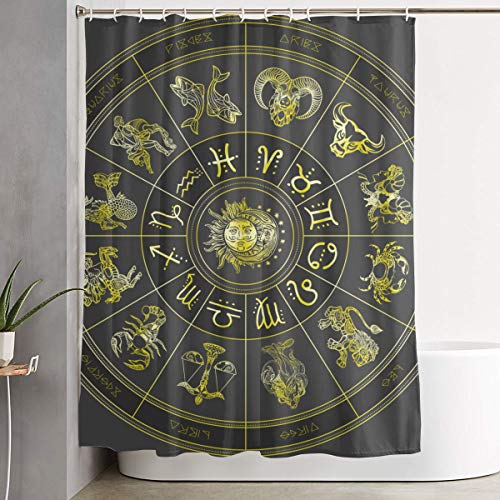NiYoung 3D Printed Zodiac Symbol Shower Curtains Water Repellent Shower Curtains - 70X70 inch for Stalls and Bathtubs - Extra Long