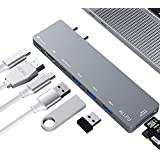 """USB C Hub,Thunderbolt 3 Hub 8-in-1 Type C Pro Hub Adapter for 2016/2017 MacBook Pro 13""""and 15""""Aluminum Type C 3.1 Charging Port with 4K HDMI Port, 3 USB 3.0 Ports, SD & Micro SD Card Reader"""