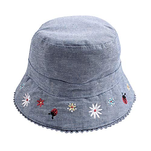 XIAOHAWANG Baby Girl Sun Hat 50+ SPF UV Protective Toddler Kids Wide Brim Outdoor Spring Bucket Children Summer Beach Caps (Denim Flower, L (2-3 Years))