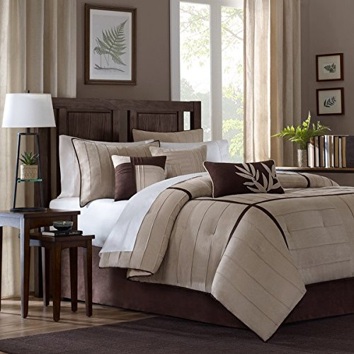 Chocolate Suede King Bedskirt - 7 Piece Beige Brown Pintuck Comforter Cal King California Set, Dark Brown Adult Bedding Master Bedroom Modern Stylish Striped Textured Pattern Elegant Themed Traditional, Microsuede Polyester Stripe