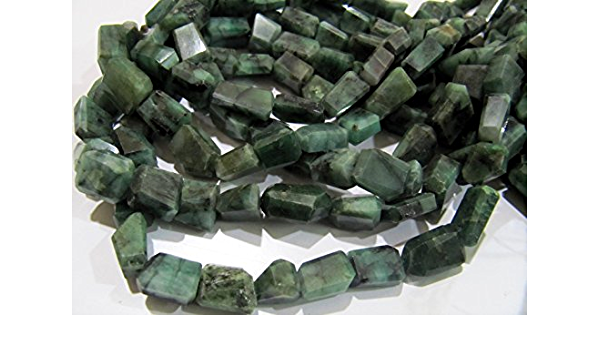 14inch Strand Precious Green Emerald Gemstone Smooth Uneven Tumble Beads for Jewelry Making Natural Emerald 8mm-12mm Raw Rough Nuggets