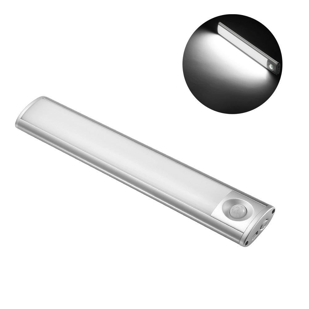 Luce a LED sotto l'armadio, 24 cm, 1,5 W, caricata da USB 2 pezzi, bianca Chenxu led