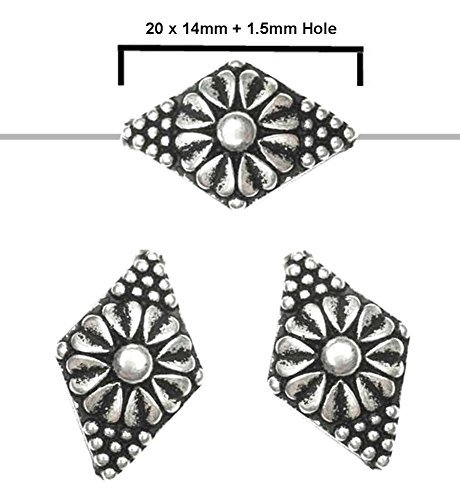 (20pcs 20x14mm Metalized Antique Silver Plated, Light Weight Patterned Diamond Shape Beads with)