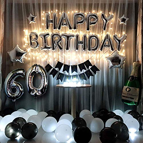 Haimimall 60th Birthday Decorations Kit Black and Silver Birthday Decorations for Women Men Led String Lights Sliver 60 Foil Balloons Birthday Banner Star Balloons Black & White Latex -