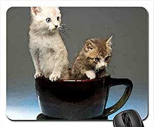 Cup of kittens Mouse Pad, Mousepad (Cats Mouse Pad, 10.2 x 8.3 x 0.12 inches)
