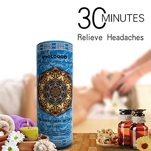 PHILOGOD Relieve Headache Incense Sticks Made up of 30 Tibetan Medicine Herbs with A Holder by PHILOGOD
