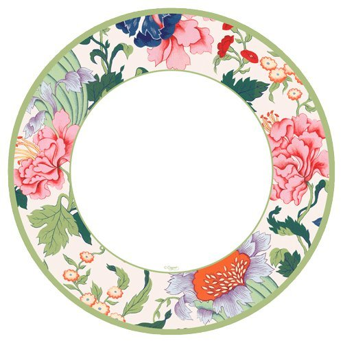 Entertaining with Caspari Entertaining Salad and Dessert Plates, Chinese Silk, Ivory, Pk 16