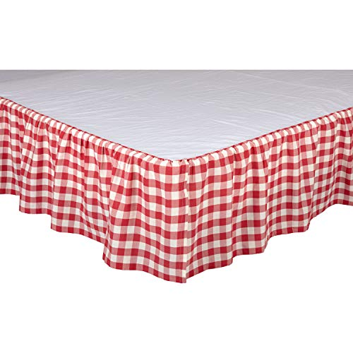VHC Brands Farmhouse Annie Cotton Split Corners Gathered Buffalo Check Queen Bed Skirt Red - Country Bedskirt