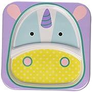 Skip Hop Baby Zoo Little Kid and Toddler Melamine Feeding Divided Plate, Multi Eureka Unicorn
