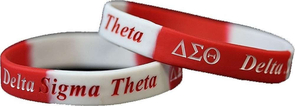 Pack of 2 - Red//White - 8 Cultural Exchange Delta Sigma Theta Color Swirl Silicone Bracelet