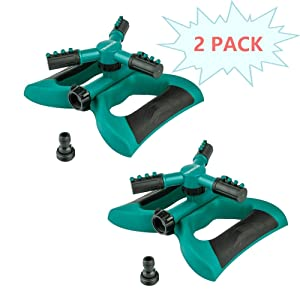 TENRIOS Lawn Sprinkler, Automatic 360 Rotating Garden Sprinkler Adjustable Watering Irrigation System with Three Arms and Large Area of Coverage (2 Pack)