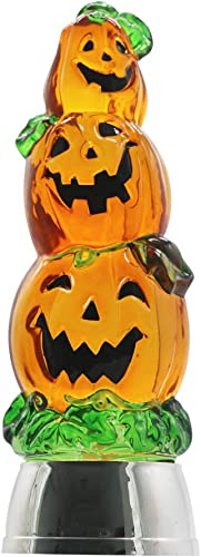 DRomance Color Changing LED Pumpkin Light Battery Operated with 6 Hour Timer, 3-Tiers Lighted Water Lamp Swirling Glittering Jack O Lantern Halloween Decoration 3.7 x 11 Inch