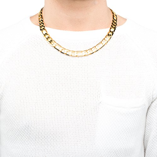 Lifetime Jewelry Figaro Chain 11MM, 24K Gold Over Semi-Precious Metals, Premium Fashion Jewelry, Hip Hop, Comes in a Box or Pouch for Gifts, Guaranteed for Life, Long, 30 Inches by Lifetime Jewelry (Image #1)