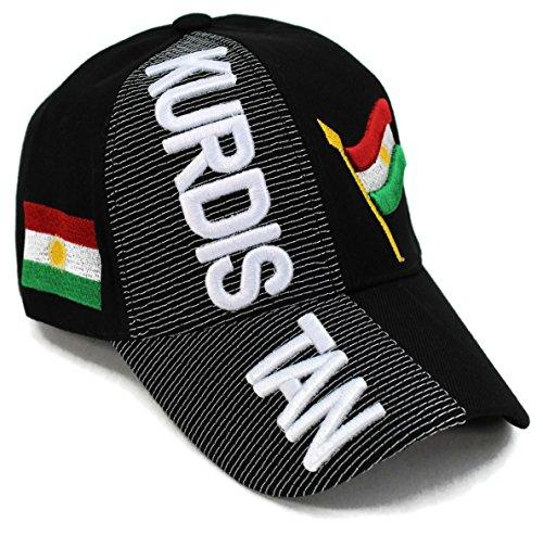 High End sombreros 'Colección Naciones de Asia y el Pacífico Sombrero bordado gorra de béisbol ajustable, Kurdistan Black