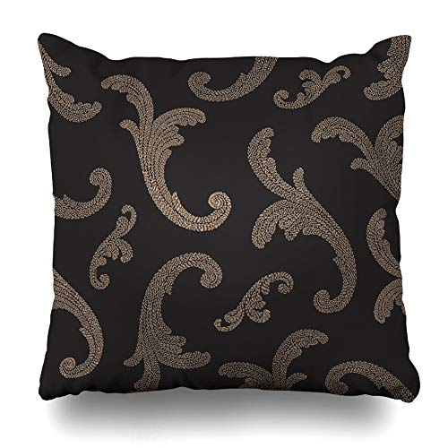 Ahawoso Throw Pillow Cover Modern Stitch Abstract Pattern Beige Gold Baroque Mesh Arabesque Hand Fancy Paint Design Tropical Decorative Pillowcase Square Size 20