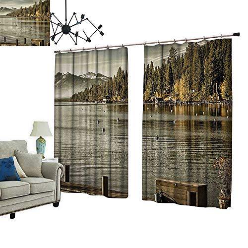 PRUNUS Fashion Window Curtain with hookat Lakeside Carnelian Bay Tahoe California USA Boardwalk Tranquil Scene Green Sage Green Radiation Protection,W84.3 xL96.5