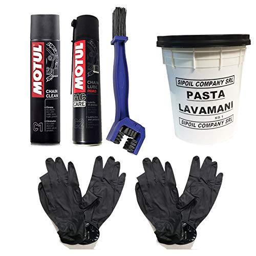 Kit Pulizia Catena Motul C1+C2 con spazzola, pasta lavamani Sipoil e guanti MOTUL + LAMPA
