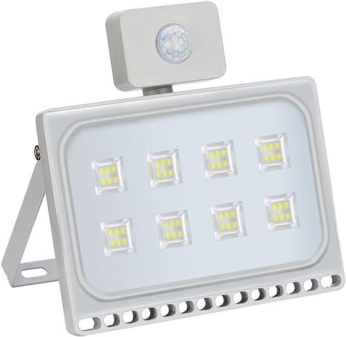 Ankishi 50W Led Motion Sensor Flood Light,5000LM Super Bright 6000K Cool White, IP67 Waterproof Led Flood Light, Sensor Floodlights Outdoor for Yard, Garden, Playground, Basketball Court