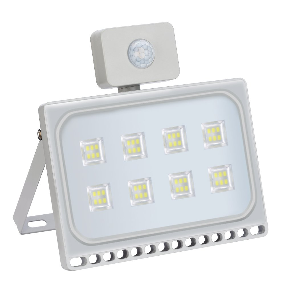 50W LED Fluter + Bewegungsmelder kaltweiß, HimanJie Ultra Dünn LED ...