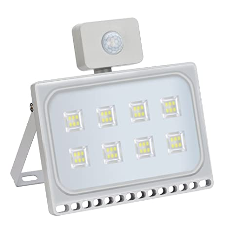 50W Blanco Frío Foco LED Sensor Movimiento Reflector Impermeable SMD IP67 Lámpara PIR Seguridad Lámpara LED