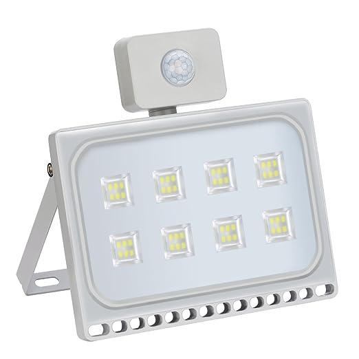 Foco LED exterior detector de movimiento, 50 W Floodlight, 5000LM, blanco frío,