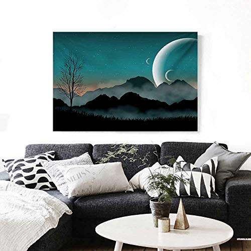 Space The Picture for Home Decoration Night Sky on Mountain Range Forest Crescent Moon Star Cosmic Infinity Astral Graphic Customizable Wall Stickers 24