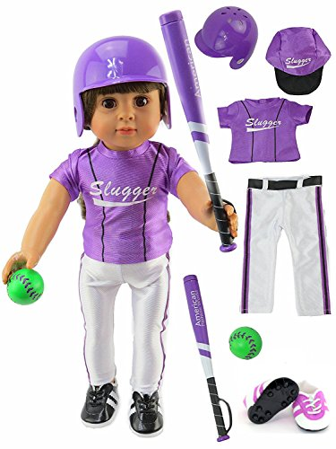 Purple Baseball Uniform with Baseball Bat, Helmet, and Shoes | Fits 18