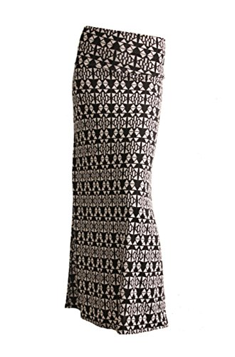 2LUV Women's Abstract Print Knit Floor Length Maxi Skirt Black & White-1 S