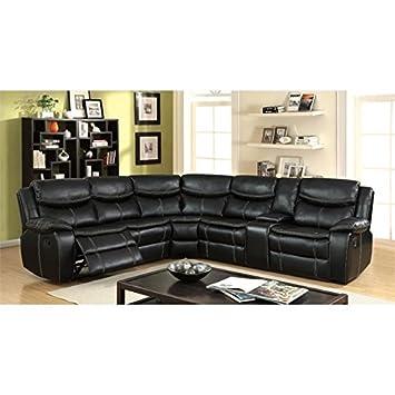 Amazon.com: furniture of america Monica reclinable seccional ...