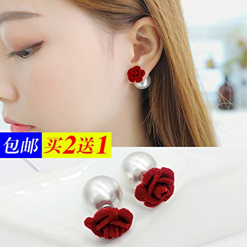 New Korean sweet autumn winter plush elegance roses pearl earrings women girls earrings earrings sided ()