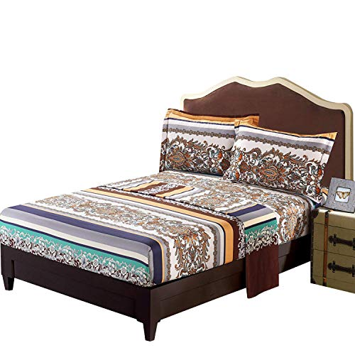 FADFAY Exotic Bohemian Fitted Sheets Striped Boho Bed Sheet Set Floral Bedding Collection Brushed Cotton Bedding Set 4Pcs-King