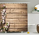 Pink and Brown Shower Curtain Ambesonne Rustic Home Decor Shower Curtain, Sweet Spring Flowering Branch on Weathered Wooden Blooming Orchard, Fabric Bathroom Decor Set with Hooks, 70 Inches, Pink Brown