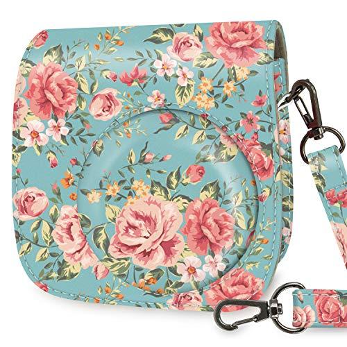 WOLVEN Protective Case Bag Purse Compatible with Mini 9 / Mini 8 / Mini 8+ Instant Camera, Retro Flower Floral