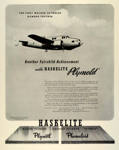1942 Ad Plymold Fairchild Haskelite Bomber Fighter Plane WWII Air Force Military - Original Print Ad by...