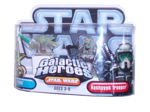 Star Wars Galactic Heroes 2 Pack 2 Inch Tall Action Figure - Yoda with Green (Galactic Heroes Game)