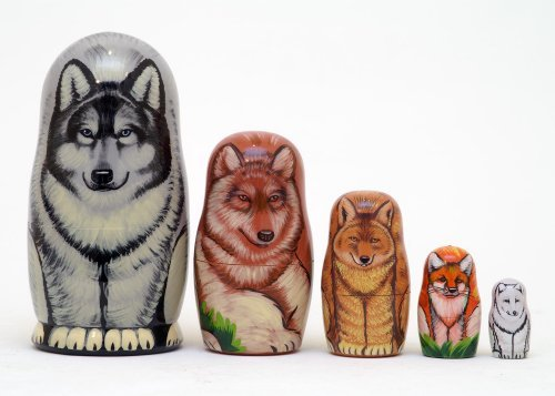 Wolves & Foxes Russian Nesting Doll 5pc./6''