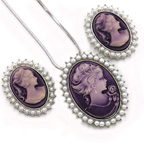 Lavender Purple Cameo Jewelry Set Necklace Pendant Stud Post Earrings Faux Pearl