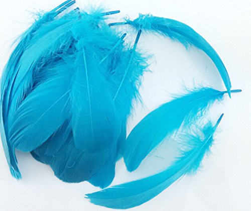 Colorful Goose Feathers, for DIY Craft Wedding Home Party Decorations 50pcs/pack/ (4--7.8 inch) (Sky blue)