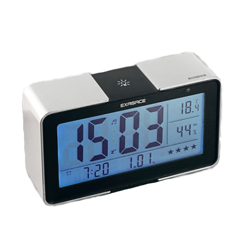 RUIX Thermo-Hygrometer Home Indoor Children's Alarm Clock,Silver