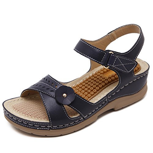 Damen Sommer PU Leder Bohemia Vintage Flach Sandalen 411 Blau