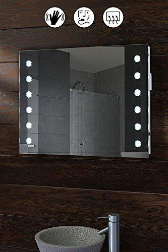 MY-Furniture - Miroir de salle de bain avec éclairage LED - IP44 - capteur de mouvement - sytème de désembuage et prise rasoir -
