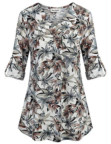 Tunic Tops for Leggings for Women,Nandashe Misses Chic Style Cute Vneck 3/4 Roll up Sleeve Maple Leaves Print Button Down Embellished Pleated Back Flare Hem Roomy Chiffon Blouses Daily Wear -