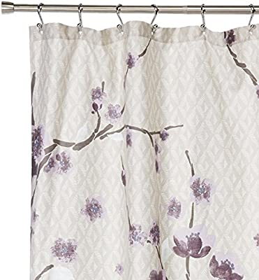 Madison Park Holly Modern Cotton Fabric Long Shower Curtain Floral Shower Curtains For Bathroom 72 X 72 Yellow