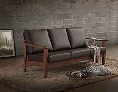 Baxton Studio Philbert Mid Century Modern Walnut Wood and Dark Brown Faux Leather 3 Seater Sofa